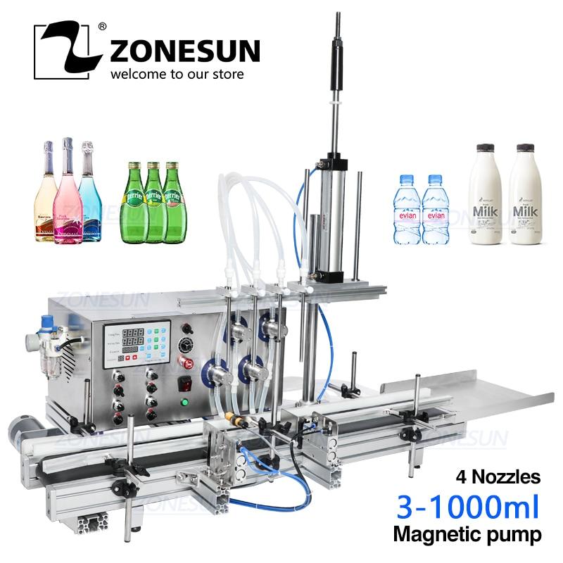 ZONESUN 4 Nozzles Magnetic Pump Automatic Desktop Liquid Water Filler With Conveyor Alcohol Ethanol Perfume Filling Machine