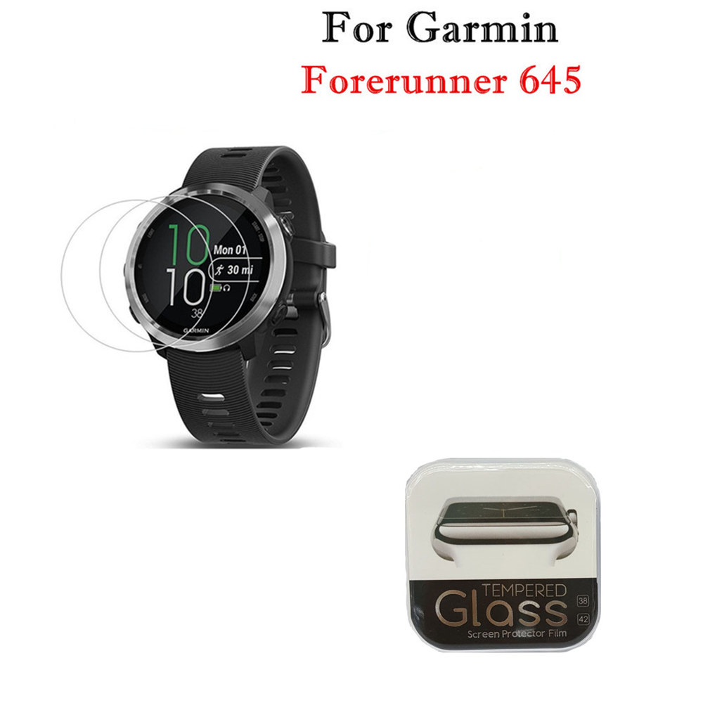 Screen-Protector Smartwatch-Film Garmin Forerunner 645 Tempered-Glass Anti-Scratch Clear title=