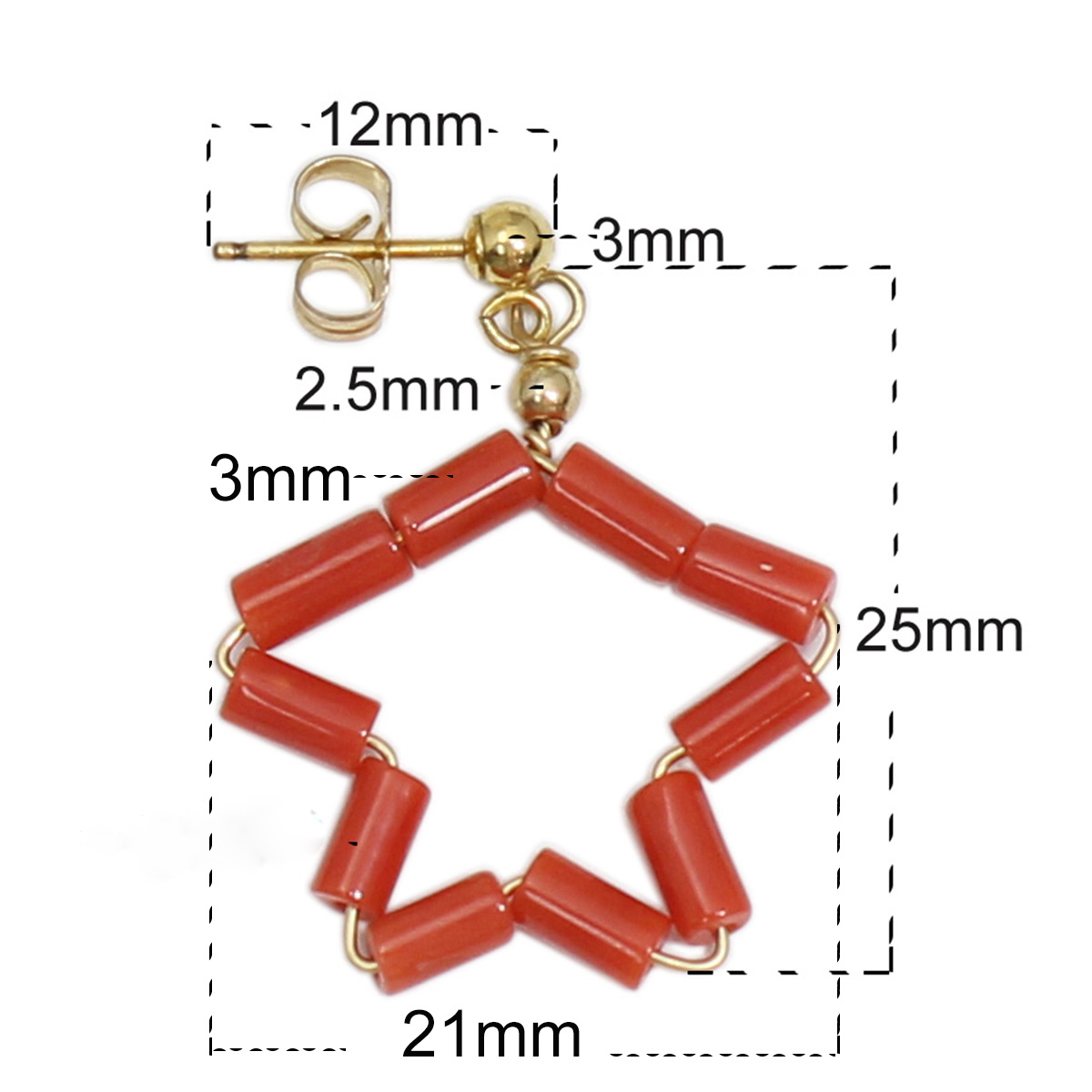Beadsnice Red Coral Stud Earring Gold Filled Stud Earring Mode sieraden 39746 - 2