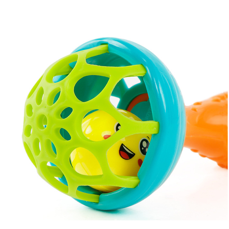 Купить с кэшбэком Baby Rattles toy Intelligence Grasping Gums Plastic Hand Bell Rattle Funny Educational Mobiles Toys Birthday Gifts WJ482