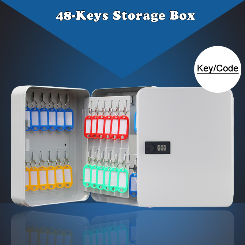 48-Keys Safe Storage Box Combination/Key Lock Wall Mounted Multi Spare Keys Organizer Box For Home Office Factory Store Use