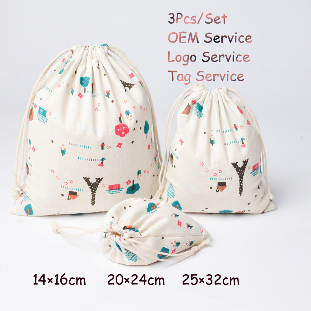 Natural Pouch For Dry Flower 3Pcs/Set Drawstring Cotton Linen Cosmetic Organizer Pouch Perfume Fragrance Bag Aroma Bag