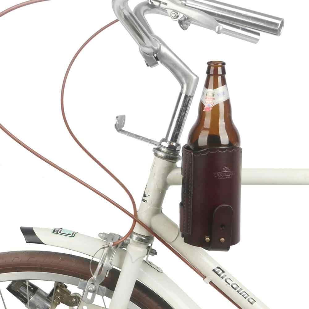 Tourbon אופני כוס קפה באר מחזיק תליית עור פאוץ בקבוק מים קומקום Carrier אופניים תיק מסגרת צינור מקרה אביזרים