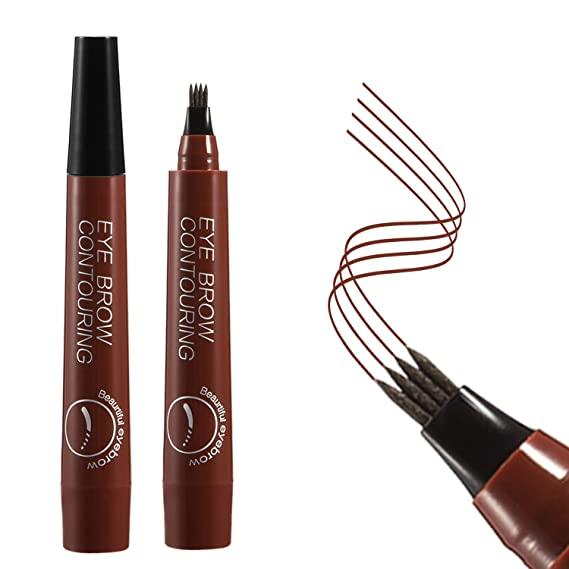 4 Points Eyebrow Pen 5 Colors Liquid Brow Pencil Dark Brown Microblading Eyebrow Pencil Waterproof Eyebrow Tattoo Pen Cosmetic