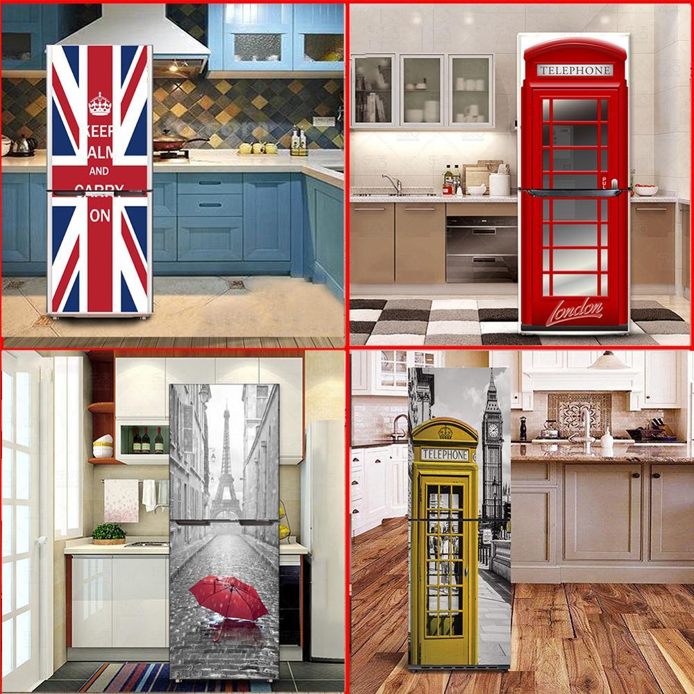 Vinyl Self Adhesive Kitchen Fridge Sticker Refrigerator Cover Door Wrap Size 60x150cm/60x180cm