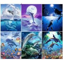 Diamond Painting Dolphin Home-Decor Handicraft-Art Cross-Stitch Animals Full-Square Embroidery