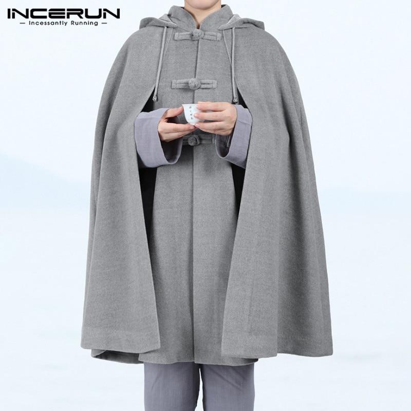INCERUN Men Cloak Coats Vintage Hooded Cape Solid Ponchos Loose Button Fleece Winter Casual Mens Trench Streetwear Jackets 2020