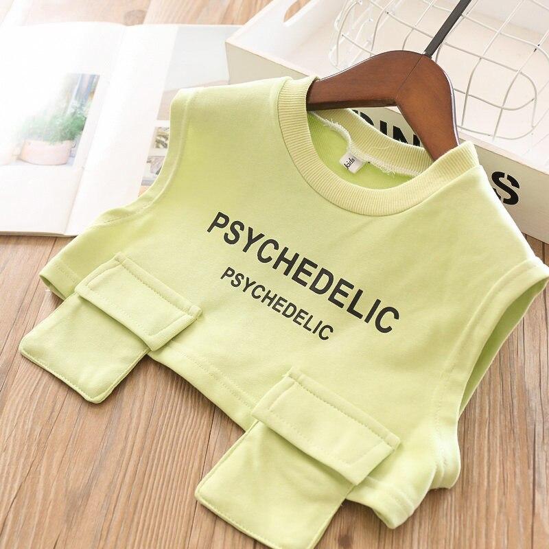 Весенние комплекты для девочек, длинная футболка с буквенным принтом для девочек и жилет с буквенным принтом