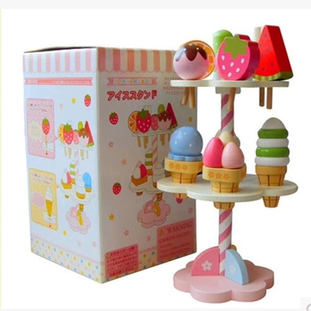 Kuulee Baby Kids Playhouse Toys Simulation Kitchen Wooden Kitchenware Ice Cream Stand