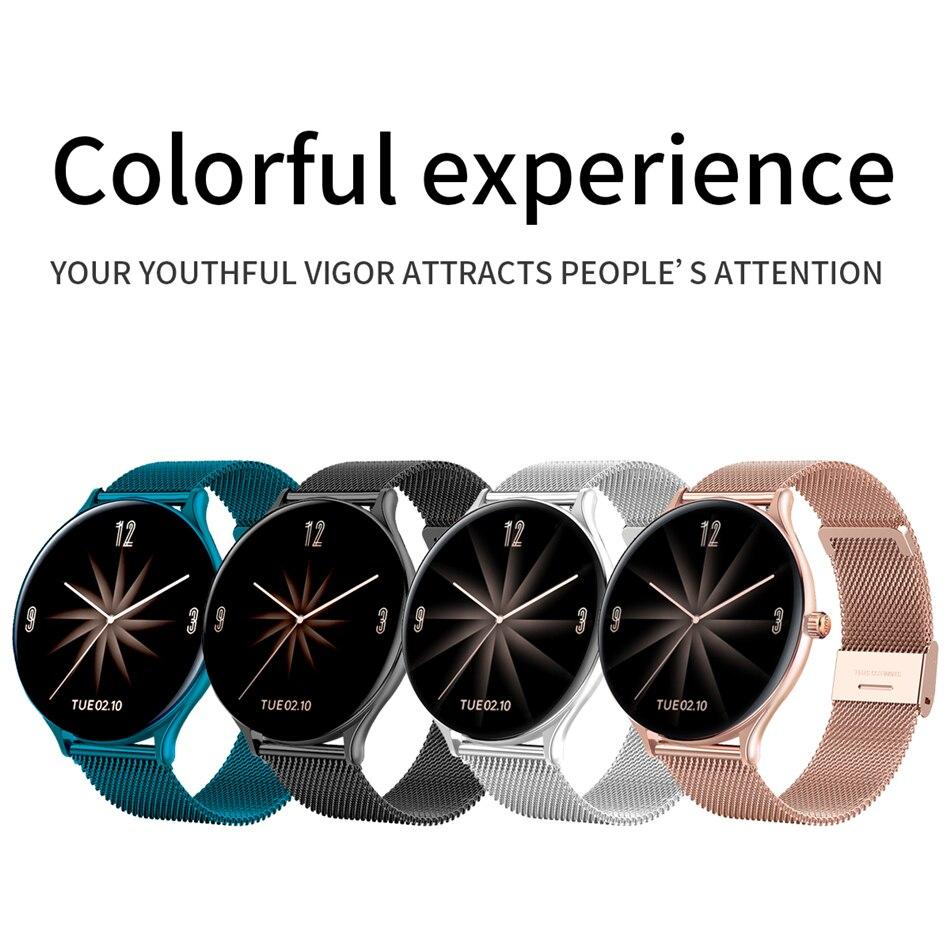 Hc883c2cc2bde459ab622a1b5fd47dc04c 2021 New Full circle touch screen Women smart watch Luxury steel Watch Band Fashion smartwatch Sport Activity tracker For Xiaomi