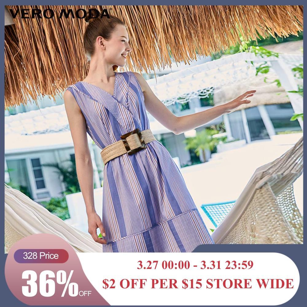 Vero Moda Women's Striped Pattern Spliced V-neckline Dress | 31927A536