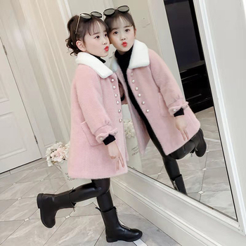 Fashion New 2019 Wool Kids Girls Jackets Turn-down Collar Coat Autumn Winter Children Clothes Thick Girls Outerwear For 3-12