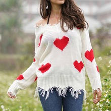 2019 Autumn Sweet Love Heart Women Sweater Casual Loose Tassel Sweater Ladies V-neck Ripped Knitted Pullovers Plus Size S-XL