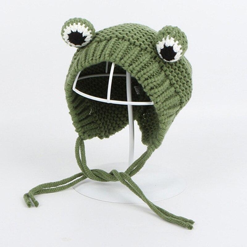 Однотонные зимние трикотажные изделия с рисунком лягушки; Теплая Лыжная Шапочка; шапочка для детей; для мальчиков и девочек; 75|Мужская Skullies & шапочки|   | АлиЭкспресс