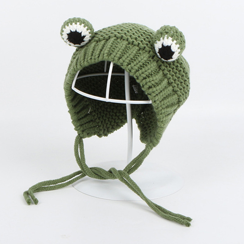 Solid Color Cartoon Frog Knitted Hat Winter Warm Hat Skullies Cap Beanie Hat For Kid Boy And Girl 75
