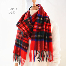 100% cashmere scarf women men Scotland classic red plaid narrow scarves soft fashion casual thin warm shawl luxury for ladies