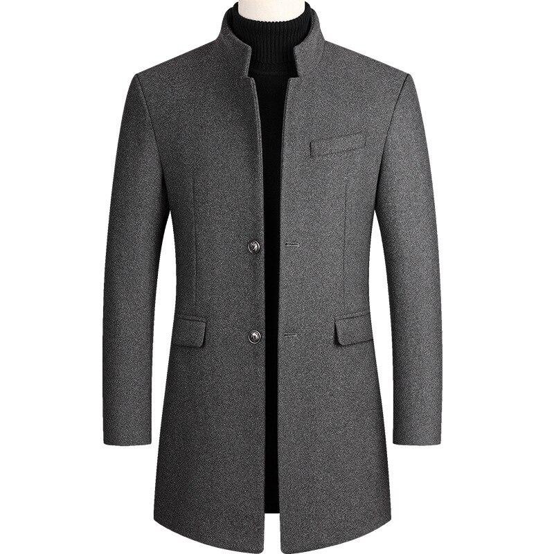 Autumn Winter Oversized Woolen Blend Coat Male Long Windbreaker Jacket Cotton Thick Warm Men Gray Jacket Mens Overcoat 3xl 4xl