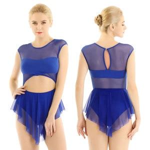 Image 3 - ChicTry ropa de baile para mujer, vestido sin mangas de malla recortada, empalme, malla de Ballet, gimnasia, patinaje artístico, disfraz de baile de rendimiento