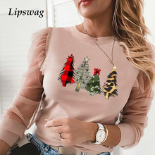 Blouse Shirts Tops Pullovers Mesh O-Neck Christmas-Tree Blusa Ruffles Hollow-Out Women Elegant