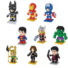 Hot LegoINGlys DC Marvel Super HERO ตัวเลข Iron Man Batman Superman Deadpool Hulk Mini Micro บล็อกเพชรนาโนอิฐของเล่น(China)