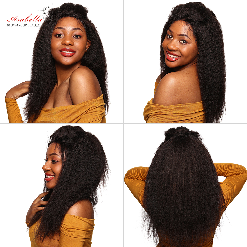 Kinky Straight Wig 13X4 Lace Front  Wigs With Baby Hair Arabella  Hair Pre Plucked Yaki Straight Lace Front Wig 5