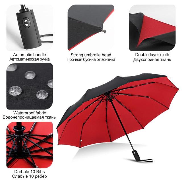Windproof Automatic Double Umbrella Rain Women 3Fold Female Male 10 Bone Car Luxury Large Business Umbrellas Men Gift Parasol 3