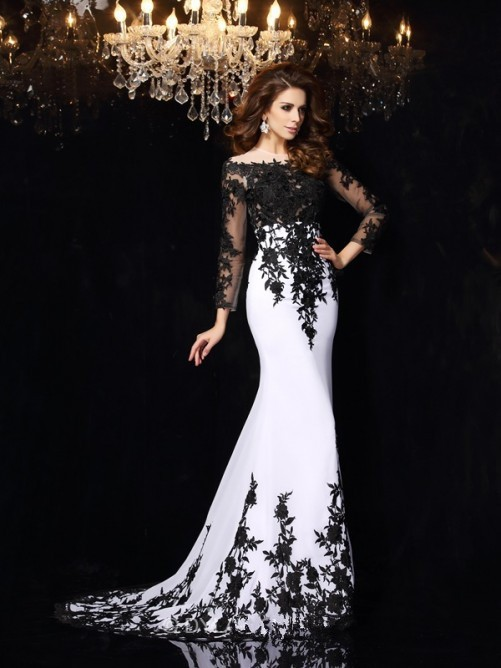 Robe De Soiree Black And White Evening Long Sleeve Court Train Appliques Satin Prom Gown 2018 Mother Of The Bride Dresses