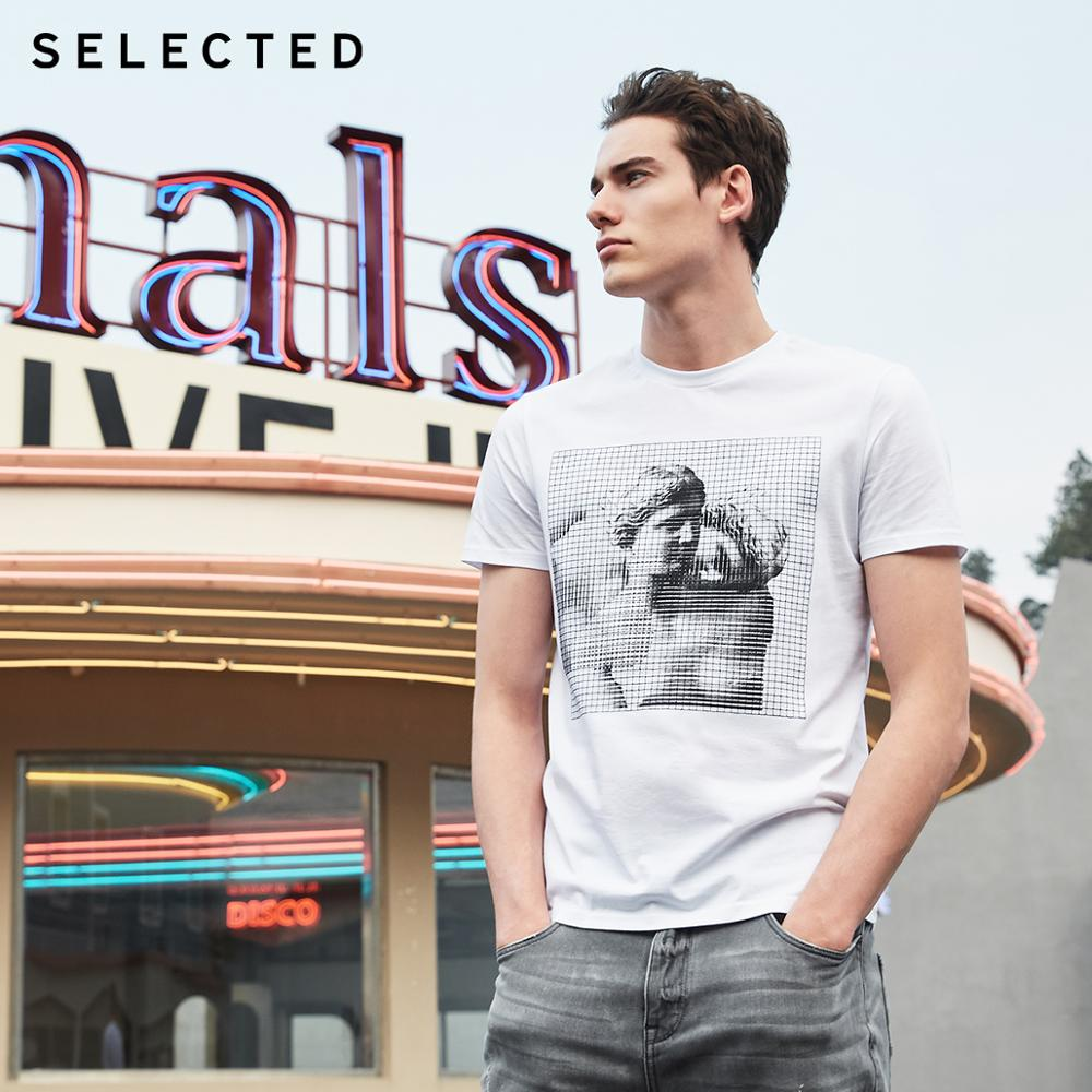 SELECTED Men's Summer 100% Cotton Embroidered Checked Short-sleeved T-shirt S|419101512