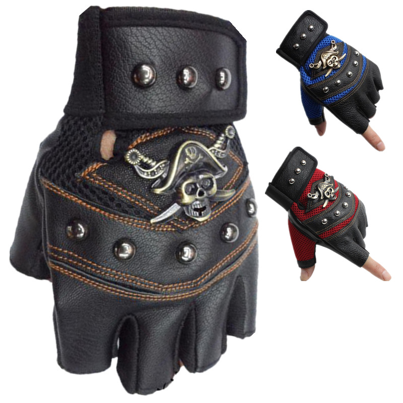 JIAZHOUHU Skulls Rivet PU Leather Fingerless Gloves Men Women Fashion Hip Hop Women's Gym Gloves Half Finger Men's Gloves