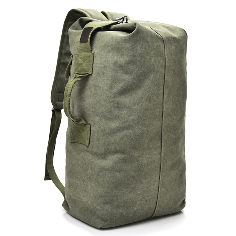 Large Capacity Rucksack Man Travel Bag Mountaineering Backpack Male Luggage Boys Canvas Bucket Bags Men Backpacks Small Green