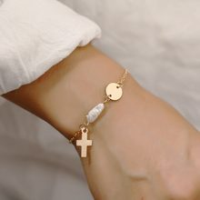 2020 Trendy Gold Glitter Cross Freshwater Pearl Chain Bracelet for Women Holiday Beach Delicate Bracelets Vintage Jewelry Gifts(China)