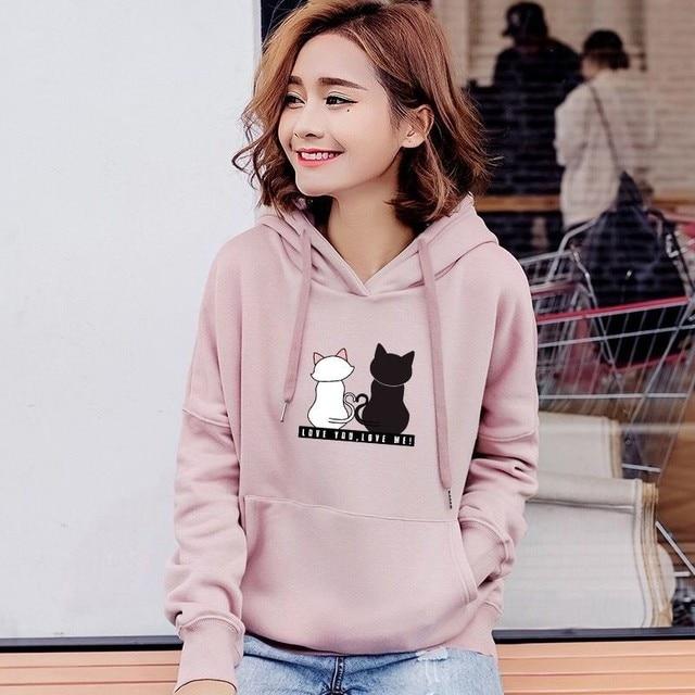 Streetwear Hoodies Women Sweatshirt Autumn Long Sleeve Hoodies Harajuku Hoodie Cute Cat Print Sweatshirt Women Sudadera Mujer 6