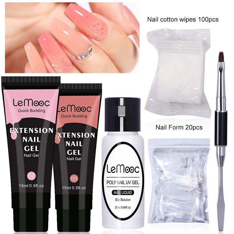 Набор для наращивания ногтей LEMOOC, 5 шт., белый, прозрачный, розовый Гель-лак для быстрого наращивания, быстрое УФ-наращивание, акриловые ногти...