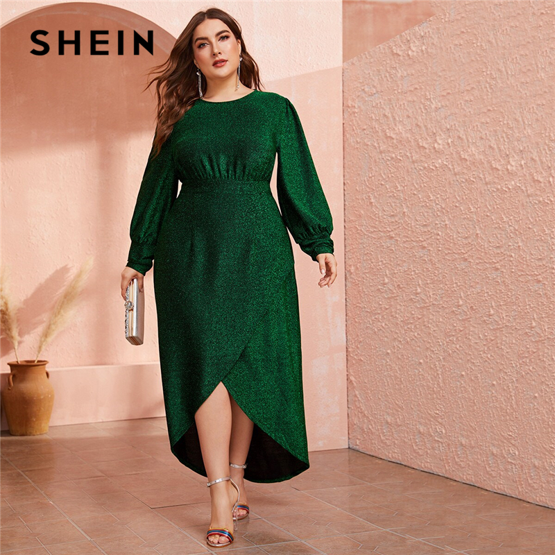 SHEIN Plus Size Green Lantern Sleeve Wrap Dip Hem Glitter Maxi Dress Women Autumn High Waist A Line Party Glamorous Dresses