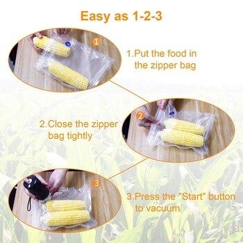 Gıda Vakumlama Makinesi Makinesi Ile 5 Paketi Fermuarlı Vakum Torbaları, Küçük Ve El Vakum Paketleme Makinesi Mutfak Ve Ev Kullanımı Bl