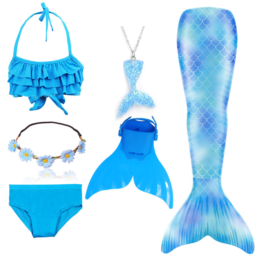 Hc88509f64529420d873f813c221d9df1b - Kids Swimmable Mermaid Tail for Girls Swimming Bating Suit Mermaid Costume Swimsuit can add Monofin Fin Goggle with Garland