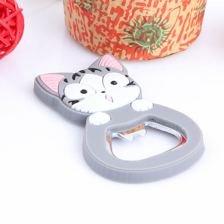 Cute Cartoon Multifunction Silicone Stainless Steel Bottle Cat Opener Beer Fridge Openers Kitchen Tools
