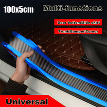 Door Sill Strip 5cmx1m Replacement Truck SUV Rear Front Anti-Collision Bumper Carbon Fiber Blue