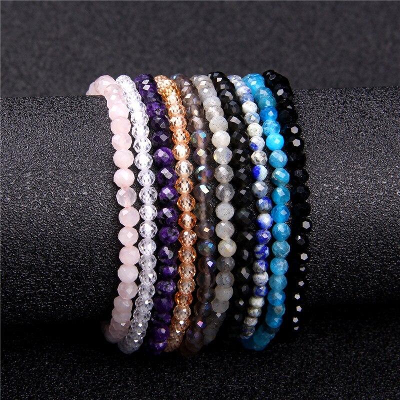 Minimalist Healing 4mm Tiny crystal stone Beads Bracelets Unisex Natural Charoite Obsidian lapis lazuli Zircon Elastic bracelets