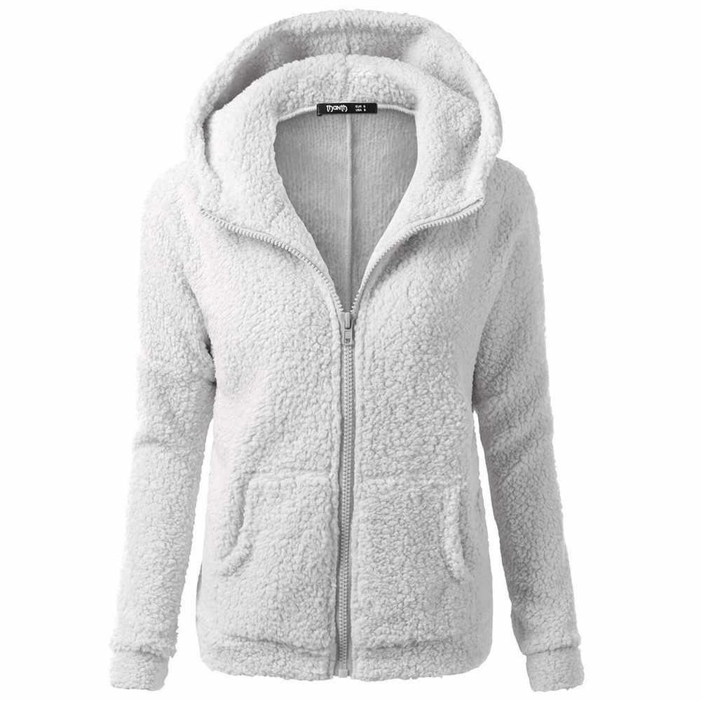 여성 양털 후드 티 후드 티셔츠 코트 겨울 따뜻한 두꺼운 울 지퍼 코트 코튼 코트 아웃웨어 Blackpink 스웨트 #38