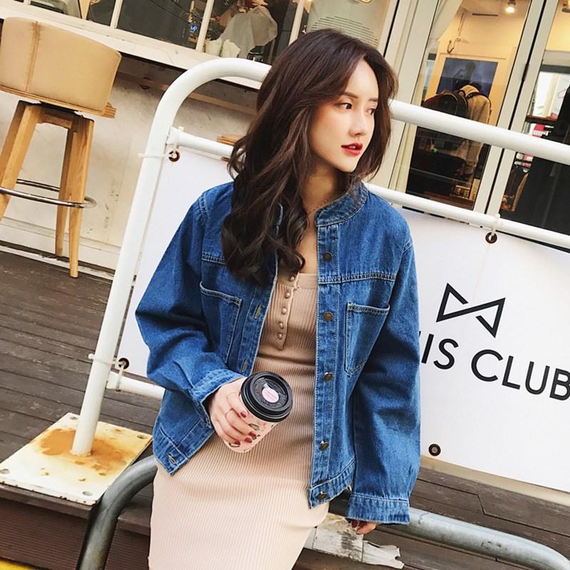 2019 Autumn Long Sleeve Denim   Jackets   Loose Cotton Pockets Outerwear Streetwear Vintage Women Femme Casual   Basic     Jacket