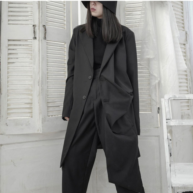 LANMREM 2020 Neue herbst Einfarbig Unregelmäßigen Mid-länge Graben Mantel Frauen Streetwear Lose Temperament Windjacke Flut PD596
