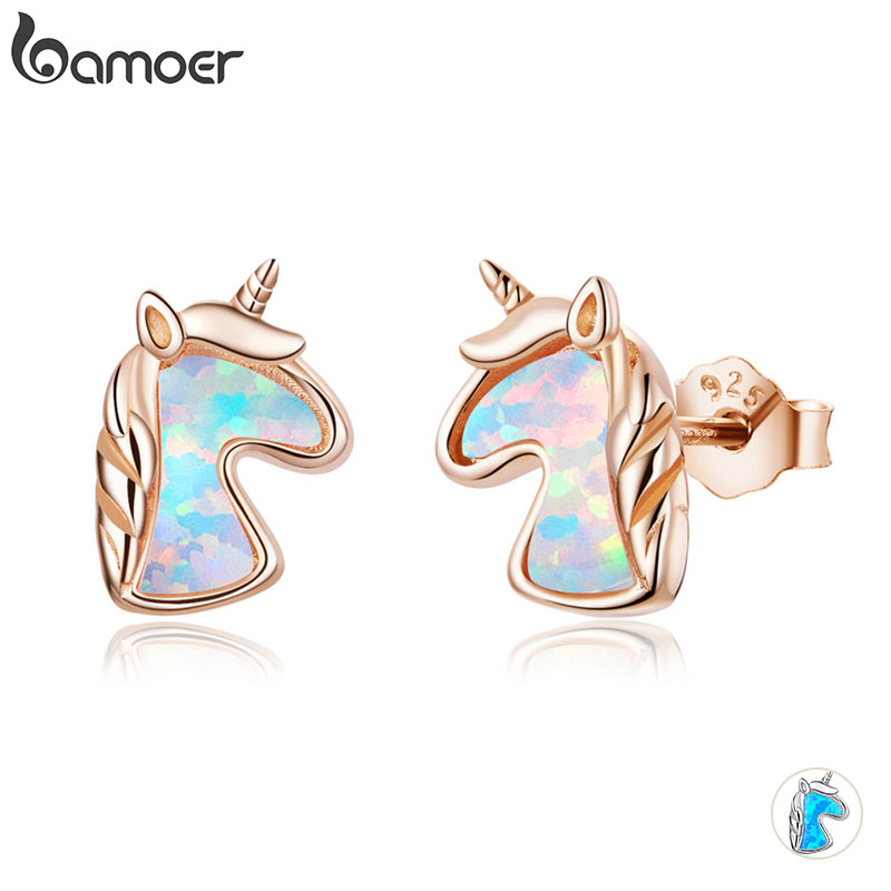 Bamoer 2 Color Opal Licorne Stud Earrings For Women 925 Sterling Silver Fashion Jewelry Brincos Dropshipping SCE815