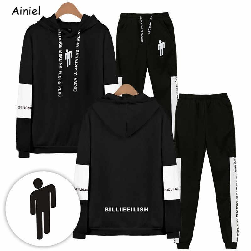 Billie eilish roupas moletom com capuz moletom com capuz outono inverno solto tops calças sexy k-pops harajuku feminino meninas unisex