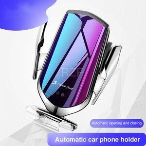Image 3 - RZP 10W Qi Araba Kablosuz iphone şarj cihazı Xs Max X Samsung S10 S9 Hızlı Kablosuz Şarj Otomatik Akıllı Araba telefon tutucu