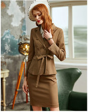 Vrouwen Suits Elegant Ol Office Lady Double Breasted Riem Blazer Rok Slanke Formele Werk 2 Delige Set Vrouwelijke Uniform(China)