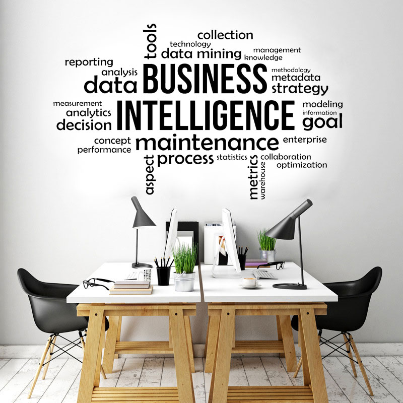 Business Intelligence Office Quote Wall Sticker Interior Design Office Words Decoration Decals Removable Murals Decor Wall A577 Wall Stickers Aliexpress