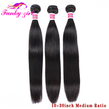 "Funky Girl Straight Hair Middle Ratio 8""-30"" Malaysia Human Hair Weave Bundles Remy Human Hair Extensions 3 4 Bundles Deals cheap Remy Hair =10 Weaving Malaysia Hair Straightened Machine Double Weft 100g(+ -5g) piece 3 4 bundles Free Gifts for order Free Lables for Wholesale"