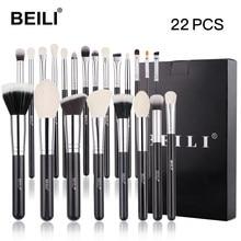 BEILI – ensemble de pinceaux de maquillage professionnels, 22 pièces, noir, Premium, mélange de poudre, fond de teint, cheveux de chèvre, fard à paupières, beauté