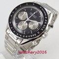 Мужские наручные часы PARNIS  кварцевые часы с черным циферблатом и циферблатом из нержавеющей стали  50 мм  2019